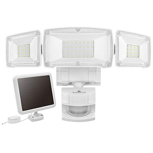 GLORIOUS-LITE Solar Security Light Outdoor, 1500LM Super Bright Solar LED Security Light, 3 Adjustable Head Motion Sensor Light, 6000K, IP65 Waterproof Flood Light for Backyard, Pathway Patio