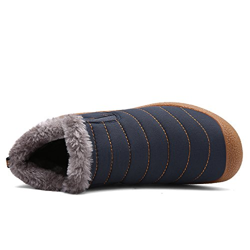 Fur Outdoor Waterproof Snow Mens Shoes Warm Anti Fully Booties Lined Boots Winter Blue Women Slip Ankle fUqIw