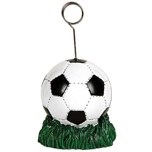 Pack of 6 Black and White Soccer Ball Photo or Balloon Holder Party Decorations 6 oz. ()