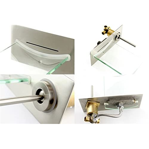 30%OFF Lovedima Chrome Wall Mount Waterfall Bathroom Sink Faucet with Glass Spout Basin Bath Tap (Brushed nickel)