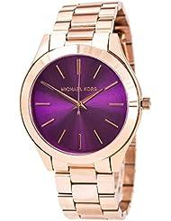 Michael Kors Womens Slim Runway Rose Gold-tone Stainless Steel Bracelet Watch 42mm Mk3293