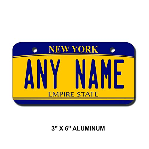 (TEAMLOGO Personalized New York License Plate - Sizes for Kid's Bikes, Cars, Trucks, Cart, Key Rings Version 2 (3