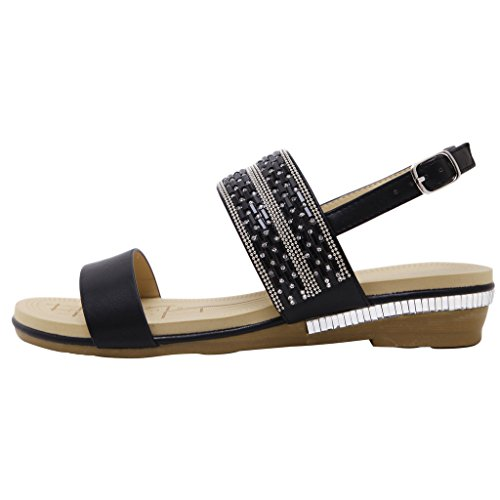 Strappy Summer Gladiator Sandals Rhinestones Beach Women Flat Shoes By Dear Time Black SiIgkWTM