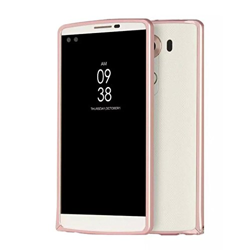 Metallic Slider Case - LG V10 Case, AutumnFall Protective SOFT-Interior Scratch Protection Metallic Finished Base with Vibrant Trendy Color Slider Style Aluminum Case Cover for LG V10 (Rose Gold)