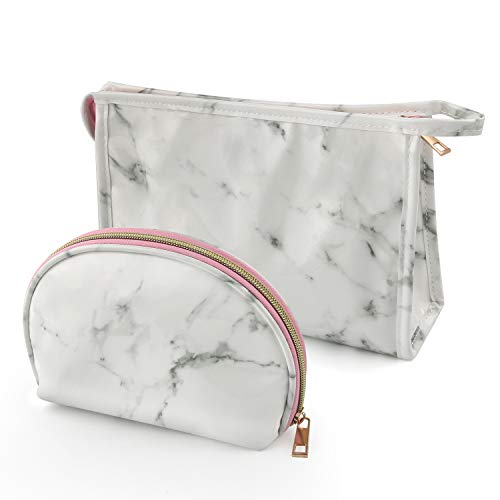 Marble Cosmetic Bag for Women 2PCS Set by NATURE Ann Lady Toiletry Bags Set Portable Storage Bag Waterproof Handbag Travel Organizer Makeup Case (White-Marble)