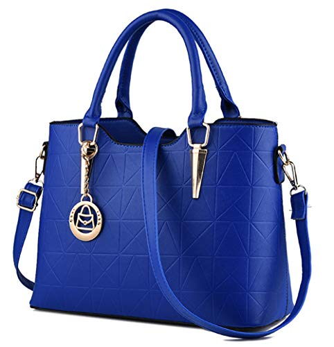 (JHVYF Casual Top Handle Handbag Purse Tote Pu Leather Shoulder Bags Women #U sapphire blue)