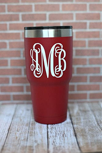 Personalized Red Powder Coated Stainless Steel Travel Mug- Vine Monogram