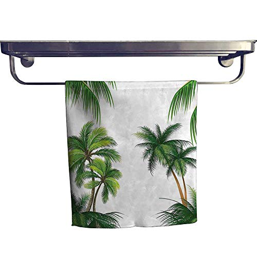 (HoBeauty home Beach Towel,Palm Tree Nature Paradise Plants Foliage Leaves Digital Illustration Hunter Green ,Luxury Towels Highly Absorbent Extra Soft W 8
