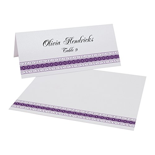 Mumbai Inspired Border Place Cards, Pearl White, Eggplant, Set of 375 by Documents and Designs