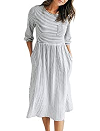 Women's 3/4 Balloon Sleeve Striped High Waist T Shirt Midi Dress with Pockets
