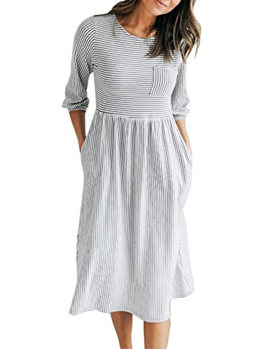MEROKEETY Women's 3/4 Balloon Sleeve Striped High Waist T Shirt Midi Dress with Pockets ()
