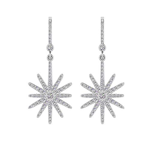 ASHNE JEWELS IGI Certified 0.76 Carat Round-Shape Natural Diamond (G-H Color, I1-I2 Clarity) 14K White Gold Floral Drop and Dangle Earrings For Women
