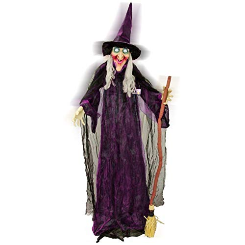 Halloween Haunters 6 Foot Animated Standing Speaking Scary Evil Wicked Witch Broomstick Prop Decoration with Turning Body and Head, Flashing LED Eyes, Cackles, Speaks Spooky Phrases - Haunted ()