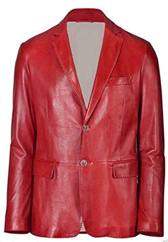 - Koza Leathers Men's Leather Jacket Genuine Two Button Lambskin Leather Blazer KB101 (Red, XXXX-Large (Fit to Chest 50