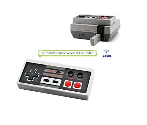 Wireless Game Controller for NES Classic Portable Super Sensitive Buttons For Precision Control,Wireless game controller, built-in battery plug and play, 2.4G Wireless Receiver (Black) Review