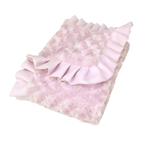 Trend Lab Kids Baby Infant Receiving Blanket - Ruffle Trimmed Pink Swirl Velour Toys Christmas Gift