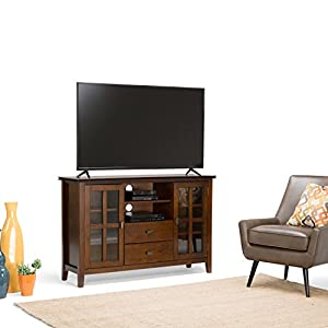 "Simpli Home Artisan Solid Wood TV Media Stand for TVs up to 60"", Medium Auburn Brown"
