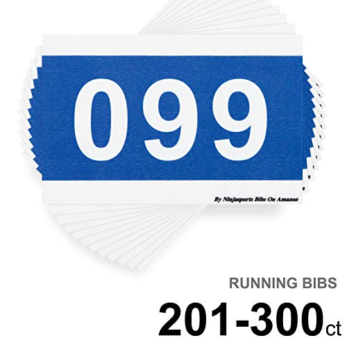 """Race Numbers Bibs for 5k Running Marathon Sports Games Competition - 5.5"""" X 8.25"""" Set of 100 Tear Proof & Waterproof (201-300)"""