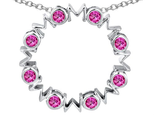 Star K Large MOM Circle Mother's Pendant Necklace with Round Created Pink Sapphire Sterling ()