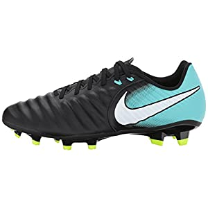 Nike Womens Tiempo Ligera IV FG Soccer Cleats (7 B(M) US, Black/White/Light Aqua/Volt)