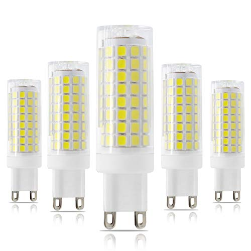 G9 LED Light Bulbs, 7.5W Dimmable G9 Bi-Pin Base Bulbs, 70W 75W Halogen Equivalent, White 6000K, 720Lumen 120Voltage, for Indoor Lighting(5- Pack)