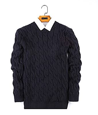 30Q Men's Stylish Cable Knit Slim Pullover Casual Sweater Jumper