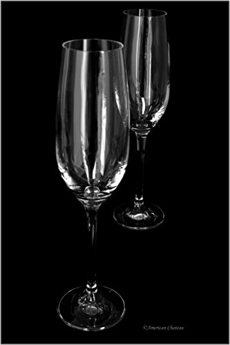 Set 2 Stemmed Bohemia Glass 7oz Large Clear Champagne Flute Glasses in (Clear 7 Ounce Flute)
