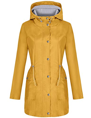 Bloggerlove Rain Jacket Women Windbreaker Striped Climbing Raincoats Waterproof Lightweight Outdoor Hooded Trench Coats S-XXL
