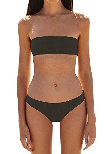 Black Bandeau Swimsuit - Coutgo Women's 2PCS Bikini Sets Solid Bandeau Swimsuit Top Bottom Set