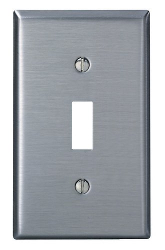 Stainless Steel Wall Plate - Leviton 84001-40 1-Gang Toggle Device Switch Wallplate, Standard Size, Device Mount, Stainless Steel