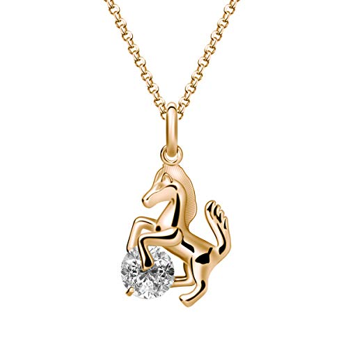 Ailianer Little Horse Necklace,Silver Gold Rose Gold Pony Pendant Zircon Jewelry for Girls Women Gift (Gold-Large Size)
