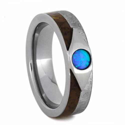Cabochon Opal, Dinosaur Bone, Gibeon Meteorite 7mm Comfort-Fit Titanium Wedding Band, Size 9.75 by The Men's Jewelry Store (Unisex Jewelry)