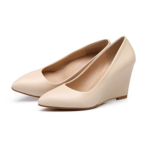 Pull Pumps PU Beige VogueZone009 Pointed Shoes on Heels Solid Closed High Toe Women's wZFqg6