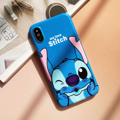(Ultra Slim Fit Soft TPU Blue Stitch Case for iPhone Xs Max 6.5 Inch 2018 Walt Disney Cartoon We Love Lilo Thin Sleek Smooth Shockproof Protective Cute Lovely Cool Stylish)