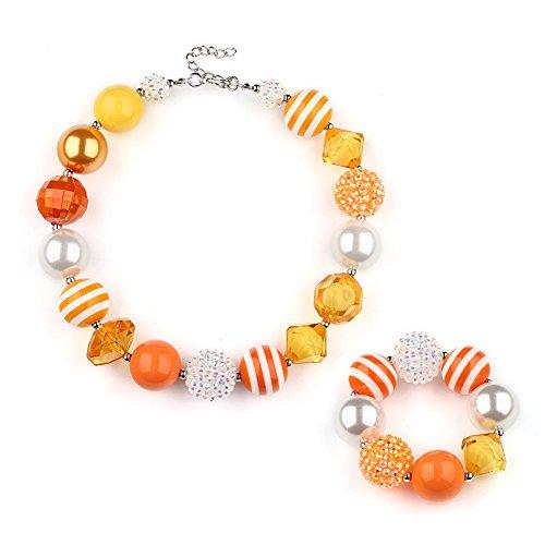 Kid Jewelry Necklace Bracelet Jewelry Set for Girls Chunky Beads Bubblegum for Kids Teen Girls Birthday Gift
