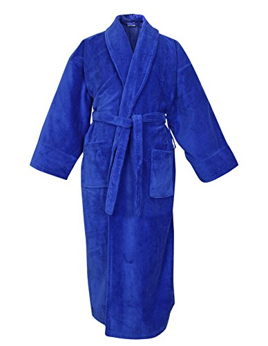 BC BARE COTTON 100% Turkish Cotton Men Terry Velour Shawl Robe, One Size, Royal Blue (Robes Mens Velour)