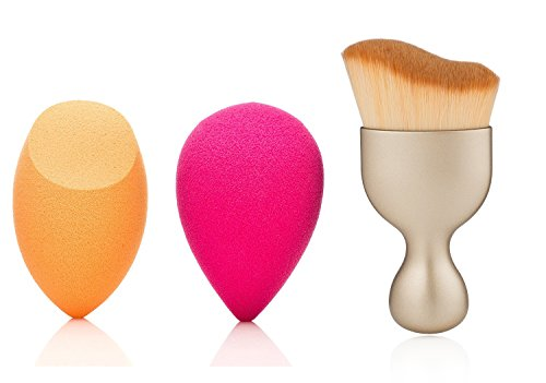 Curved Brush Set. 1 Contour Foundation Brush, 2 Latex-Free Miracle Orange and Pink Use Wet or Dry Sponges (3, gold)