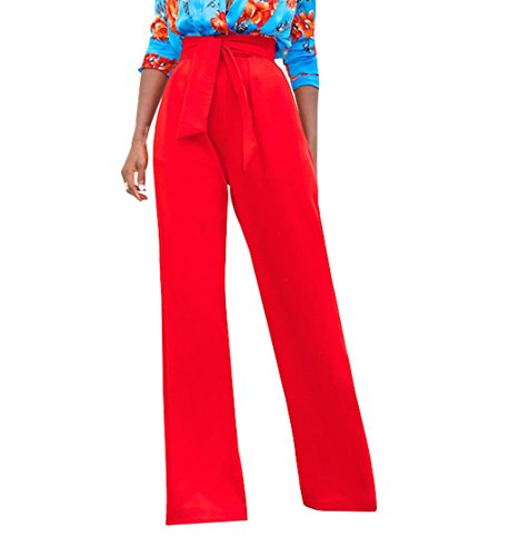 Women Casual Wide Leg High Waisted Long Palazzo Pants Red Large