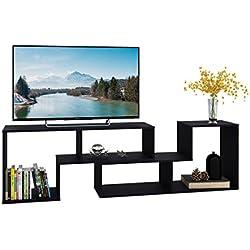 "DEVAISE TV Stand/2 Pieces Bookcase/Bookshelf (0.59"" Thk, Black)"