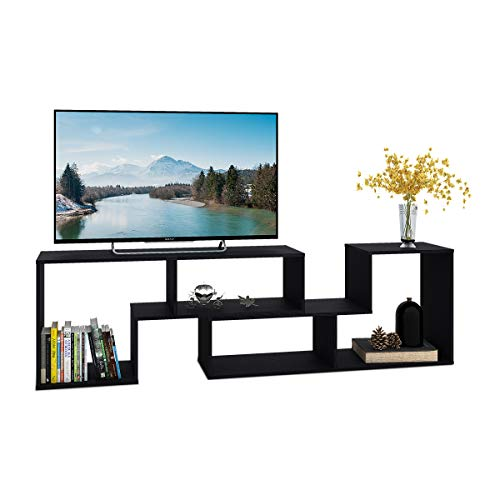 "DEVAISE TV Stand/2 Pieces Bookcase/Bookshelf (0.59"" Thk, Black)"