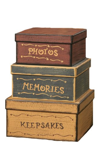 your hearts delight square photos memories keepsakes nesting boxes 12 12 by 9 inch set of 3 - Decorative Storage Boxes