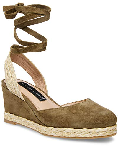 STEVEN by Steve Madden Women's Charly Sandal, Olive Suede, 6 M US