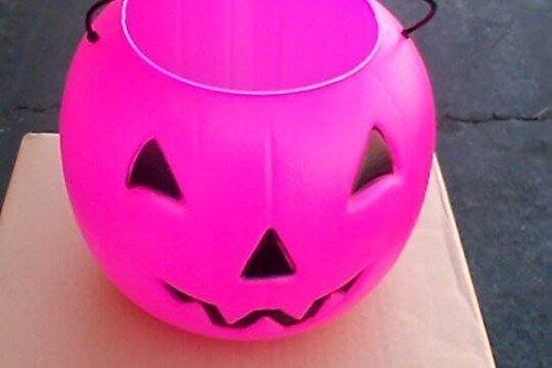 Halloween Pumpkin Jack O Lantern Candy Bucket (Pink Pumpkin)