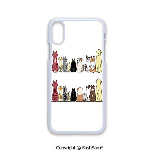 Phone Case Compatible with iPhone X Black Edge Cats and Dogs Collie Calico Labrador Scottish Shorthair Tabby Shih Tzu Pet Lovers Art Print Decorative 2D Print Hard Plastic Phone Case