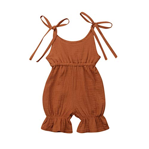 Tronet 2019 New Summer Onesies Baby Unisex Summer Solid Romper Bodysuit Jumpsuit Outfits Sunsuit Coffee