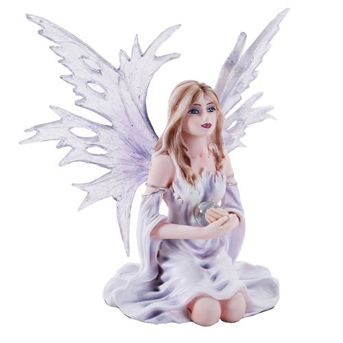 (Pacific Giftware 4.5 Inch Fairyland Legends Winter Purple Fairy Winged Fairy with Flowers Statue Figurine)