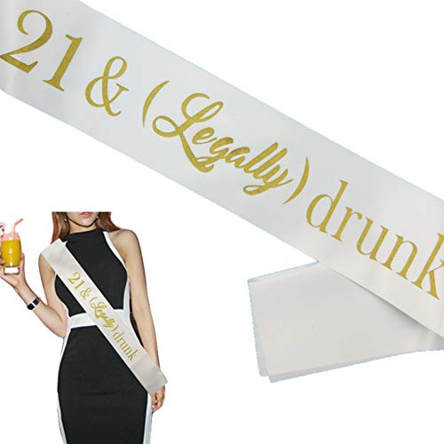 21st Birthday Decorations Sash Gifts for Her/Him -