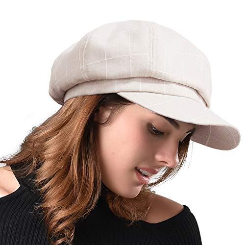 FURHATMALL Newsboy Cap for Women Spring Summer Thin Cotton Linen Gatsby Visor Hat -