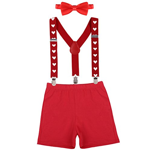 - Cake Smash Outfit Boy First Birthday - Bloomers, Suspenders and Bow Tie Z# Red+Sweetheart