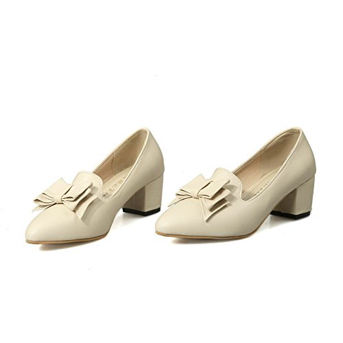 Kitten Pointed Pu WeenFashion On Pull Shoes Women's Beige Toe Pumps Solid Closed Heels BFZ1q8FW
